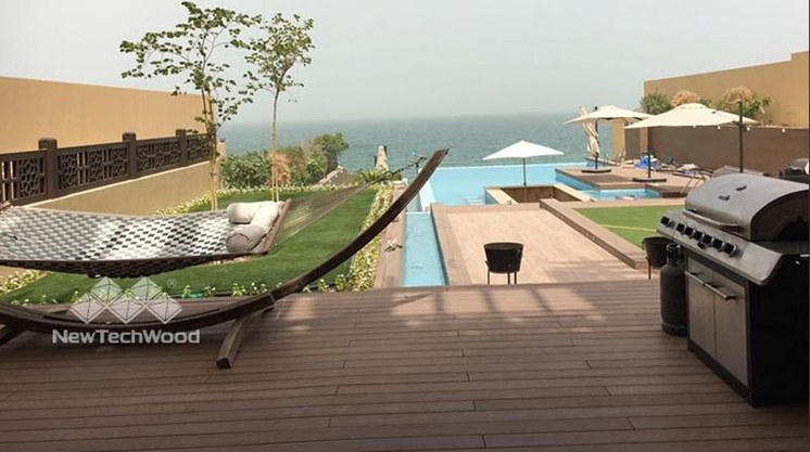 infinite pool side decking in teak