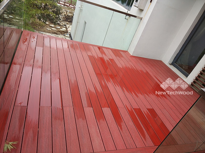 use hot soapy water and a soft bristle brush to clean your deck